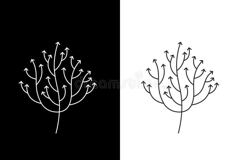 Αφηρημένο δέντρο βελών ανάπτυξης που συμβολίζει την εξέλιξη και την αύξηση οποιαδήποτε εννοιολογικά περιβαλλοντικά πράσινα να ανα ελεύθερη απεικόνιση δικαιώματος