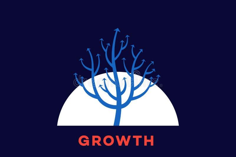 Αφηρημένο δέντρο βελών ανάπτυξης που συμβολίζει την εξέλιξη και την αύξηση οποιαδήποτε εννοιολογικά περιβαλλοντικά πράσινα να ανα απεικόνιση αποθεμάτων