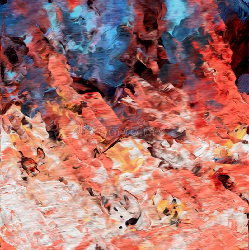 Αφηρημένο έργο τέχνης acrilyc Ακρυλικά κύματα απεικόνιση αποθεμάτων