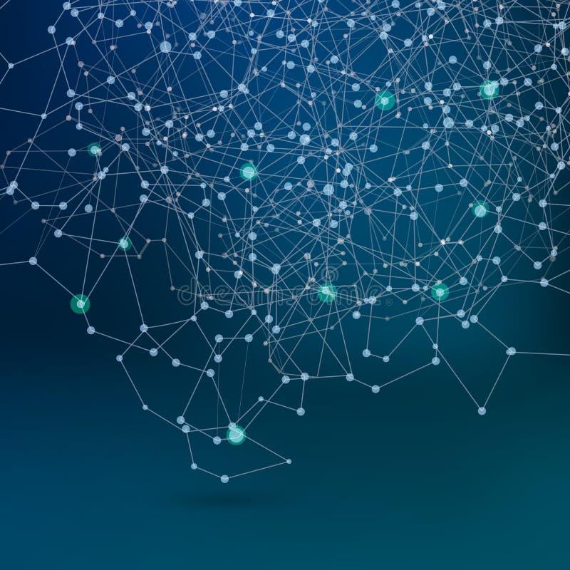 Αφηρημένο δίκτυο επικοινωνίας, σκοτεινό υπόβαθρο σχεδίου ελεύθερη απεικόνιση δικαιώματος