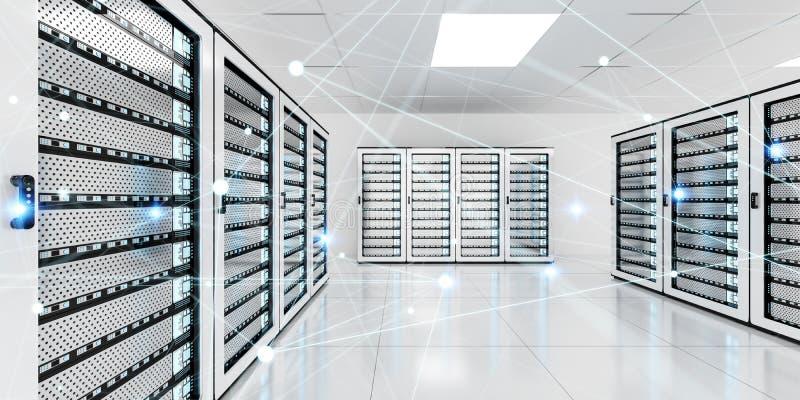 Αφηρημένο δίκτυο στην τρισδιάστατη απόδοση κέντρων δεδομένων δωματίων κεντρικών υπολογιστών ελεύθερη απεικόνιση δικαιώματος