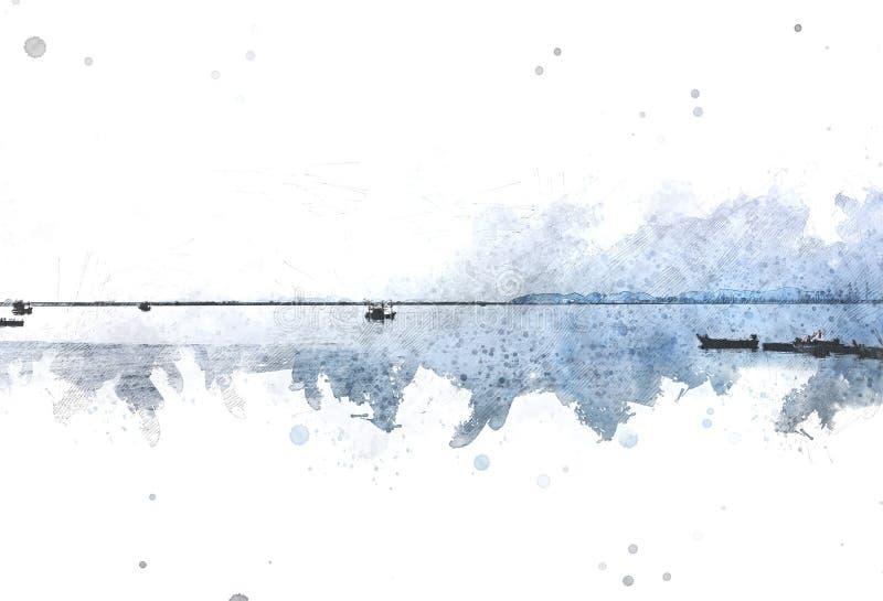 Αφηρημένο αλιευτικό σκάφος στον ωκεανό στο paining υπόβαθρο watercolor απεικόνιση αποθεμάτων