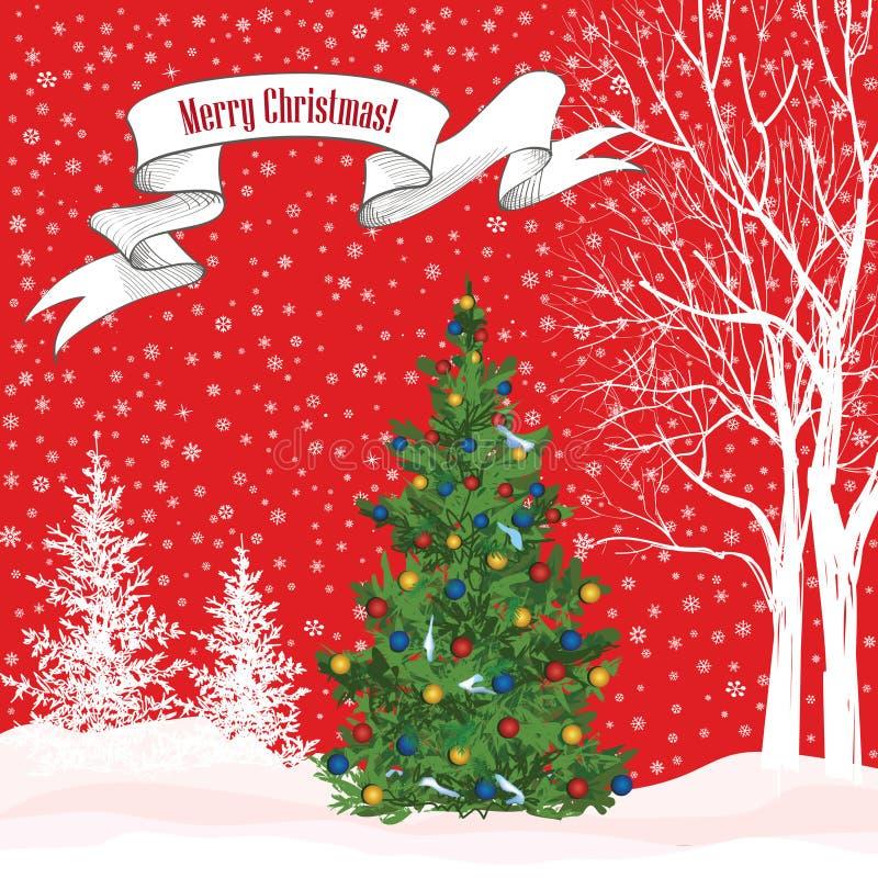 αφηρημένο ανασκόπησης Χριστουγέννων σκοτεινό διακοσμήσεων σχεδίου λευκό αστεριών προτύπων κόκκινο Χειμερινό δάσος χιονιού με το δ ελεύθερη απεικόνιση δικαιώματος