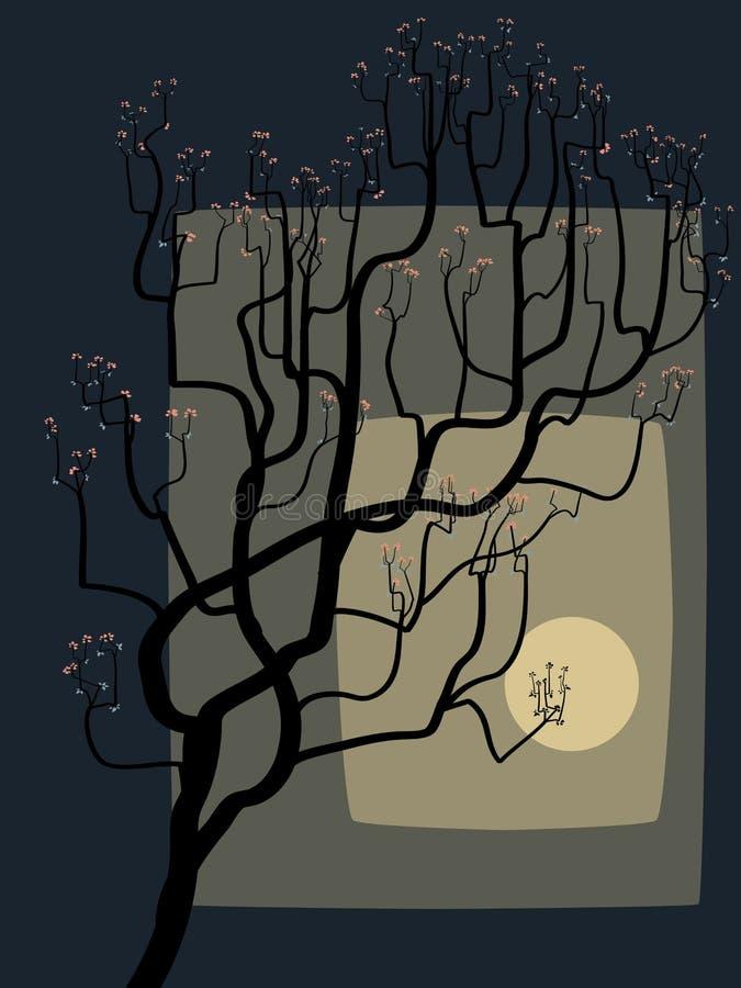 αφηρημένο ανθίζοντας δέντρο σχεδίων ελεύθερη απεικόνιση δικαιώματος