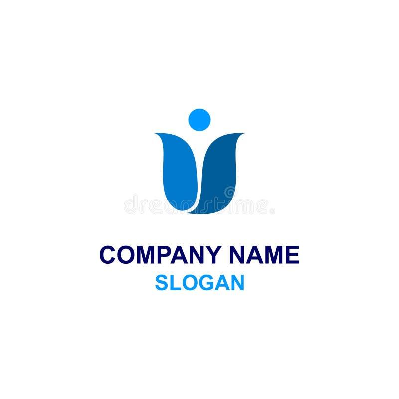 Αφηρημένο ανθρώπινο μπλε λογότυπο τουλιπών διανυσματική απεικόνιση
