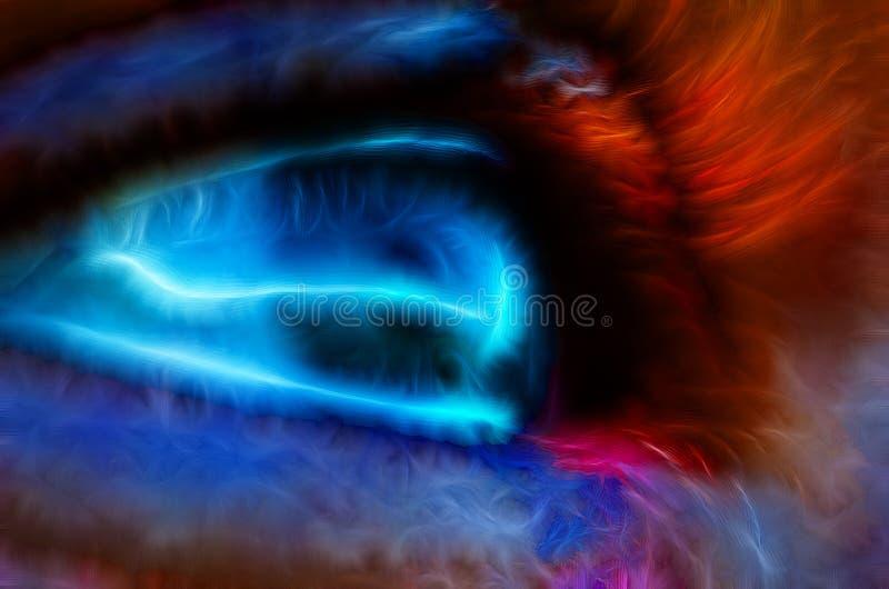 Αφηρημένο ανθρώπινο μπλε μάτι με τον κόσμο ελεύθερη απεικόνιση δικαιώματος