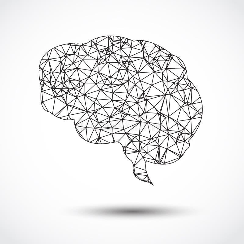 Αφηρημένο ανθρώπινο πλέγμα εγκεφάλου στο λευκό ελεύθερη απεικόνιση δικαιώματος