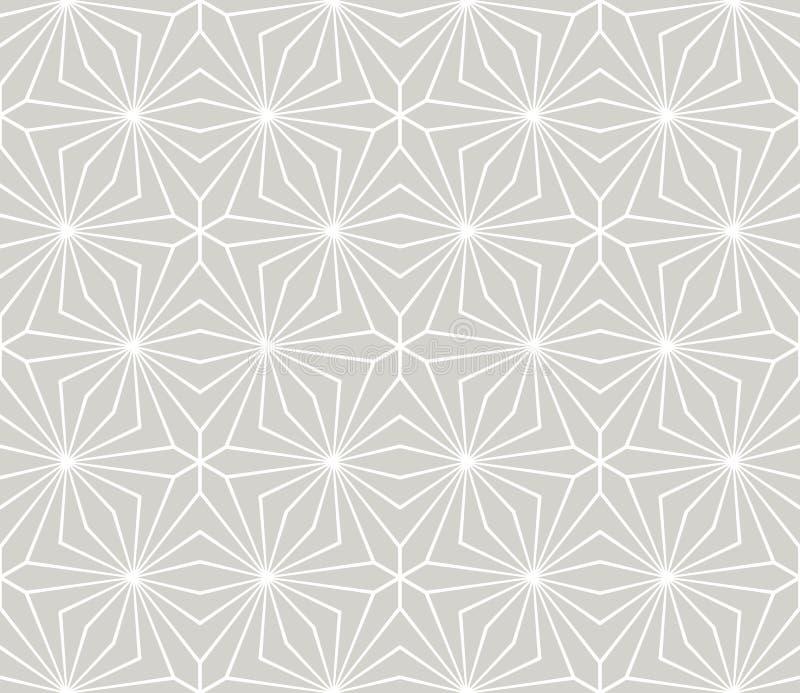 Αφηρημένο απλό γεωμετρικό διανυσματικό άνευ ραφής σχέδιο με την άσπρη floral σύσταση γραμμών στο γκρίζο υπόβαθρο Ανοικτό γκρι σύγ διανυσματική απεικόνιση
