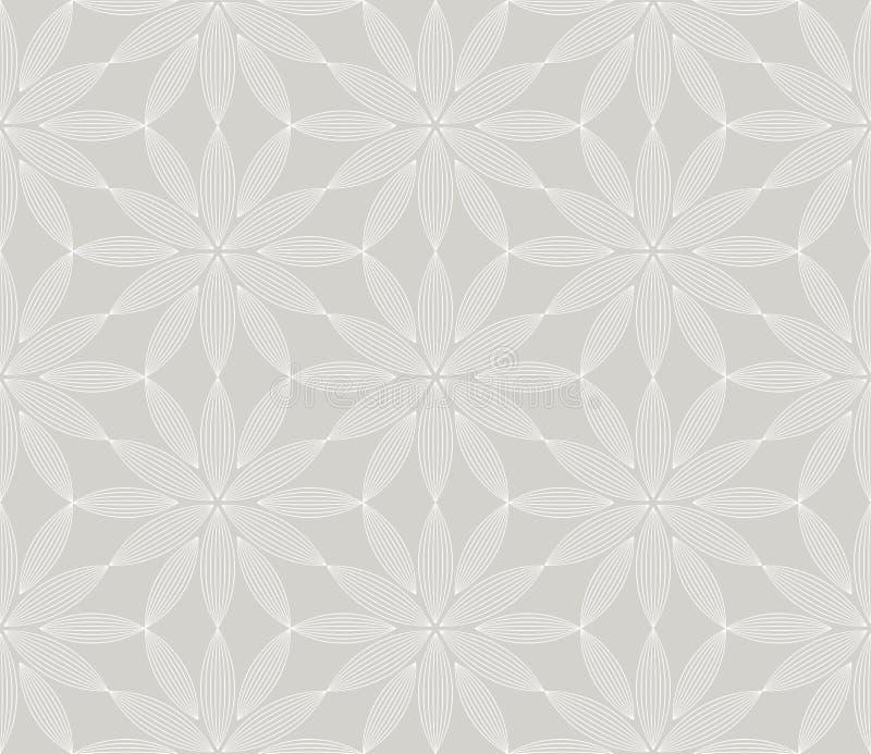 Αφηρημένο απλό γεωμετρικό διανυσματικό άνευ ραφής σχέδιο με την άσπρη floral σύσταση γραμμών στο γκρίζο υπόβαθρο Ανοικτό γκρι σύγ ελεύθερη απεικόνιση δικαιώματος