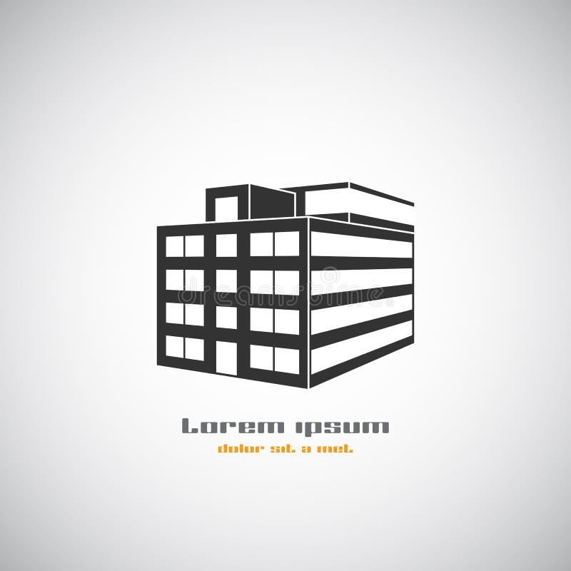 Αφηρημένο αρχιτεκτονικής κτηρίου πρότυπο σχεδίου λογότυπων σκιαγραφιών διανυσματικό Εικονίδιο επιχειρησιακού θέματος ακίνητων περ απεικόνιση αποθεμάτων