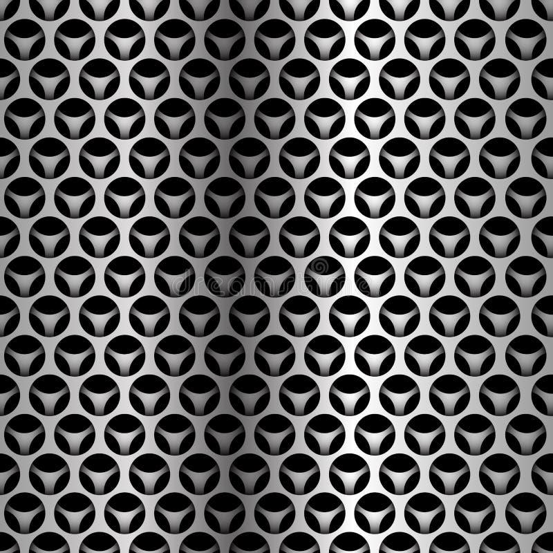 Αφηρημένο ασημένιο άνευ ραφής σχέδιο επικάλυψης πλέγματος κύκλων στο μαύρο διάνυσμα υποβάθρου σχεδίου σύγχρονο φουτουριστικό διανυσματική απεικόνιση