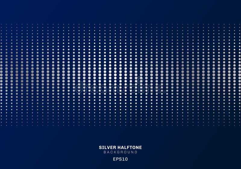 Αφηρημένο ασημένιο σχέδιο σημείων ημίτονο στο σκούρο μπλε ύφος πολυτέλειας υποβάθρου διανυσματική απεικόνιση