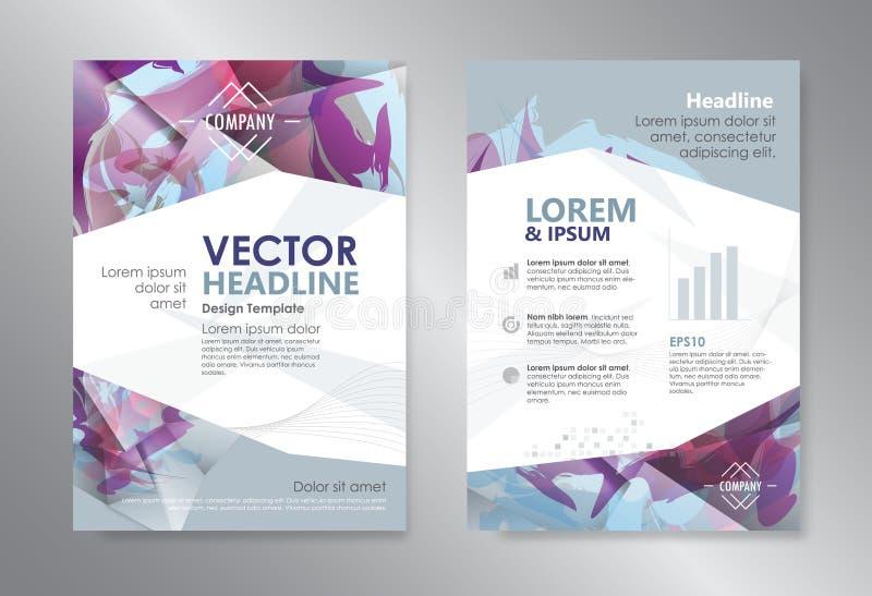 Αφηρημένο βιβλιάριο ιπτάμενων φυλλάδιων περιοδικών σχεδίου πολυγώνων προτύπων διανυσματική απεικόνιση