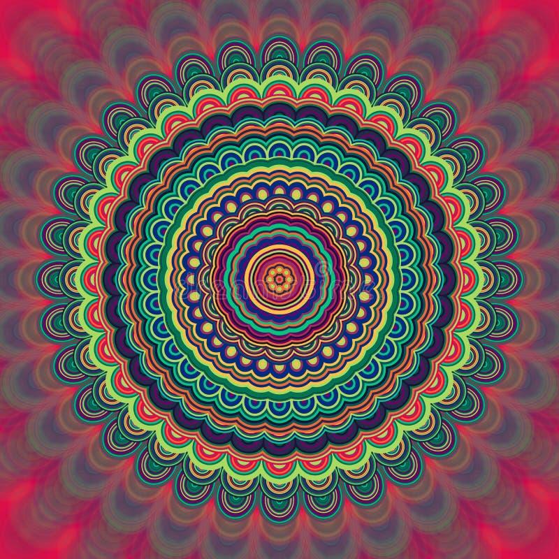 Αφηρημένο Βοημίας υπόβαθρο διακοσμήσεων mandala - κυκλικό διανυσματικό σχέδιο καλειδοσκόπιων γραφικό από τις ομόκεντρες ελλείψεις διανυσματική απεικόνιση