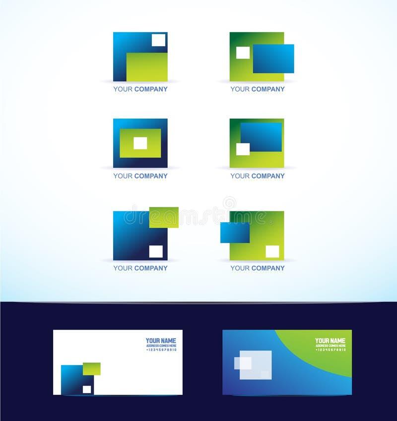 Αφηρημένο γαλαζοπράσινο τετραγωνικό σύνολο λογότυπων ελεύθερη απεικόνιση δικαιώματος