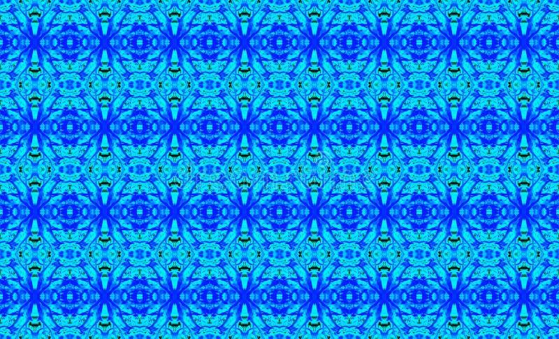 Αφηρημένο γεωμετρικό άνευ ραφής σχέδιο σε ένα ορθογώνιο στο κρύο μπλε απεικόνιση αποθεμάτων