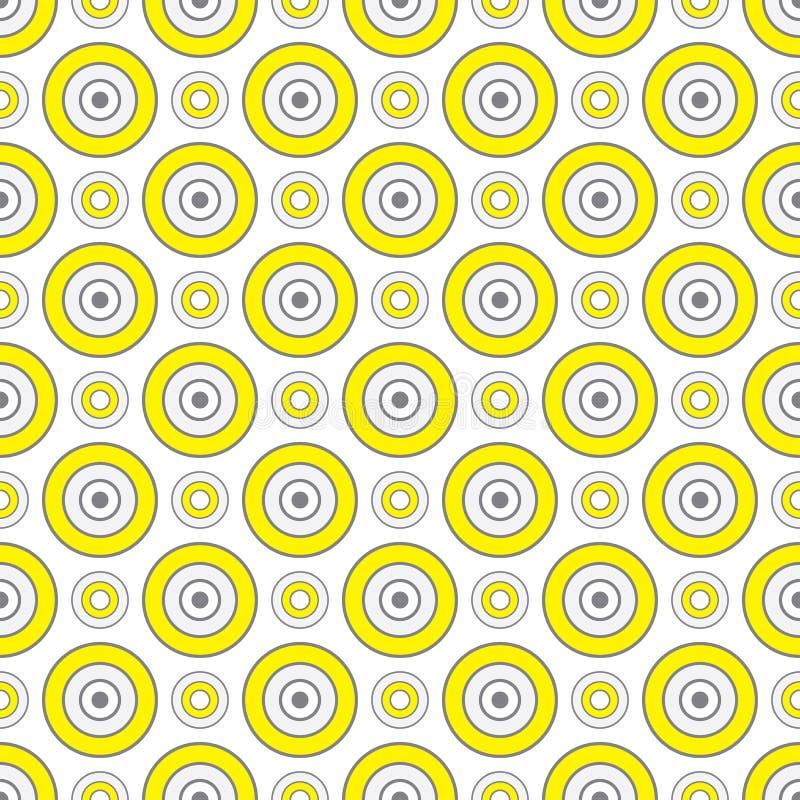 Αφηρημένο γεωμετρικό άνευ ραφής σχέδιο με τη διακόσμηση κύκλων στο κίτρινο και γκρίζο χρώμα απεικόνιση αποθεμάτων