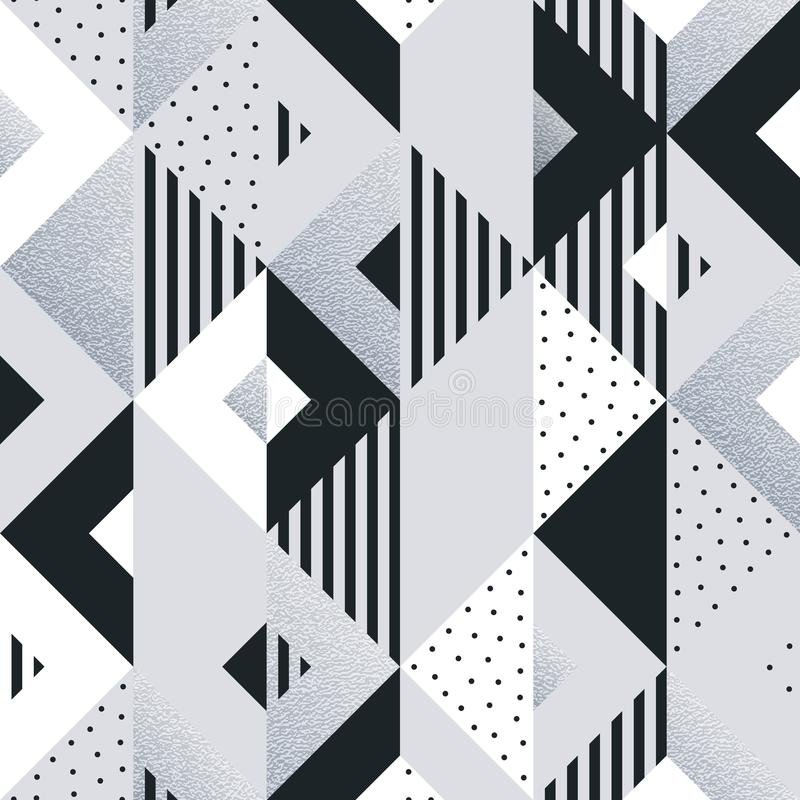 Αφηρημένο γεωμετρικό ασημένιο υπόβαθρο σχεδίων των στοιχείων τετραγώνων και τριγώνων για το σύγχρονο καθιερώνον τη μόδα πρότυπο σ απεικόνιση αποθεμάτων