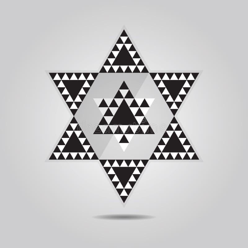 Αφηρημένο γεωμετρικό εικονίδιο κεραμιδιών τριγώνων hexagram απεικόνιση αποθεμάτων
