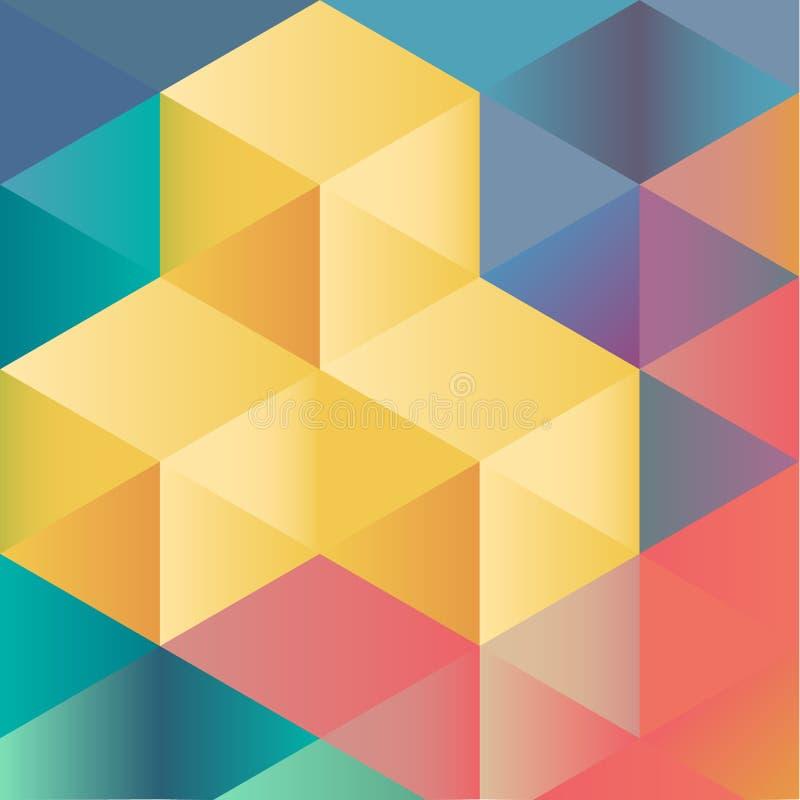 Αφηρημένο γεωμετρικό ζωηρόχρωμο υπόβαθρο από τους isometric κύβους ελεύθερη απεικόνιση δικαιώματος