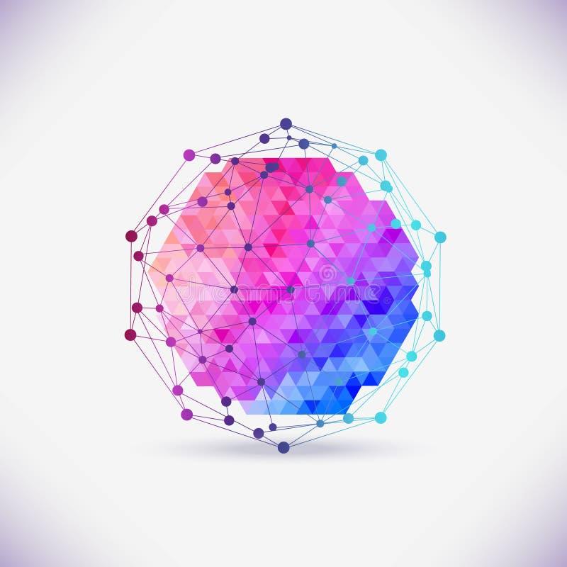 Αφηρημένο γεωμετρικό δικτυωτό πλέγμα, το πεδίο των μορίων, διανυσματική απεικόνιση
