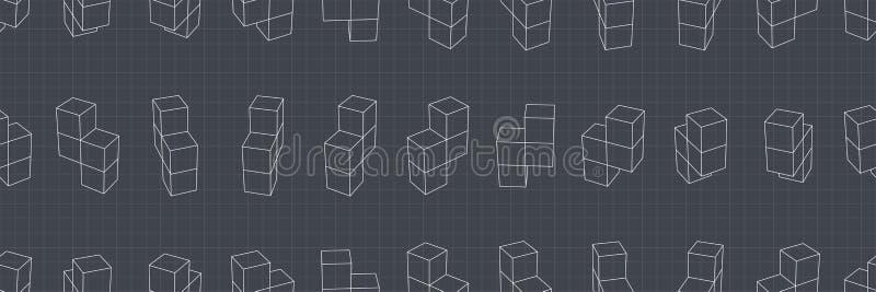 αφηρημένο γεωμετρικό πρότυπο άνευ ραφής Μια τρισδιάστατη μορφή στο διάστημα Λεπτομέρειες σχεδιαστών διανυσματική απεικόνιση