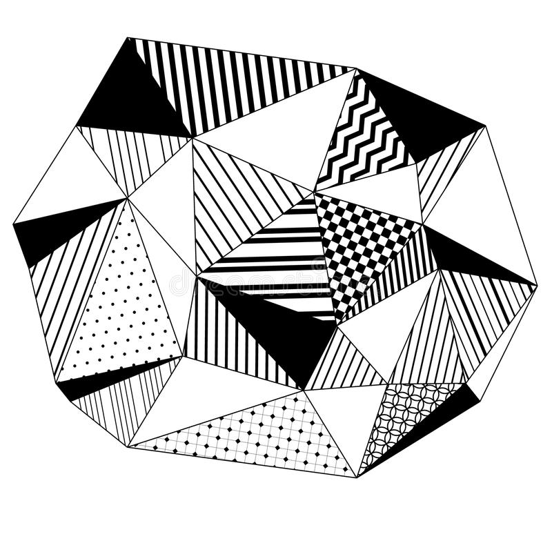 Αφηρημένο γεωμετρικό ριγωτό υπόβαθρο τριγώνων σε γραπτό, διάνυσμα διανυσματική απεικόνιση