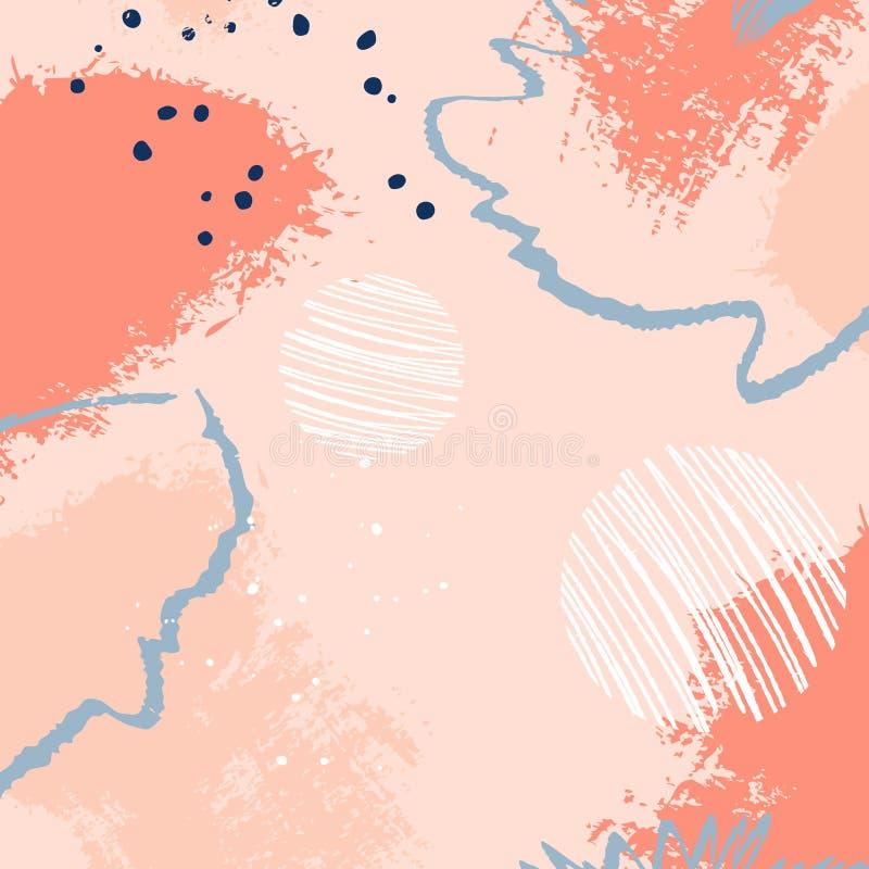 Αφηρημένο γεωμετρικό σχέδιο κοραλλιών με τους κύκλους και τα στοιχεία κτυπήματος Καθιερώνουσες τη μόδα συρμένες χέρι συστάσεις αφ διανυσματική απεικόνιση