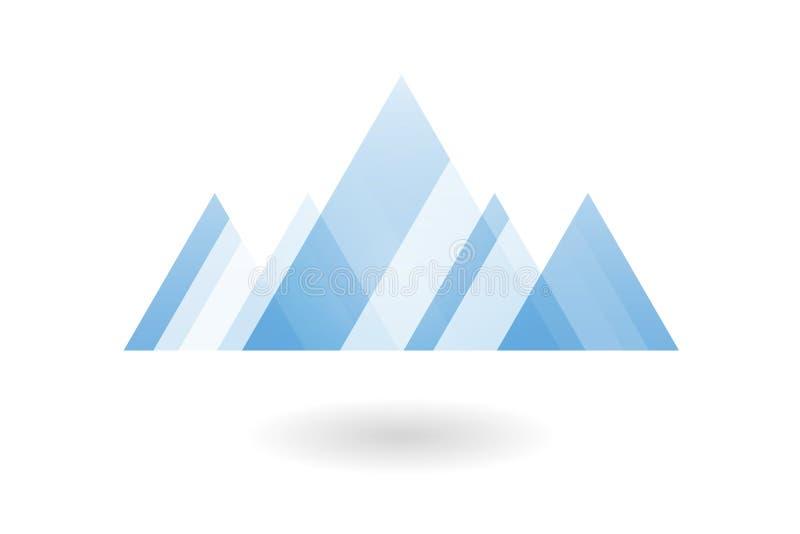 Αφηρημένο γεωμετρικό σχέδιο, μπλε επικαλύπτοντας λογότυπο βουνών τριγώνων απεικόνιση αποθεμάτων