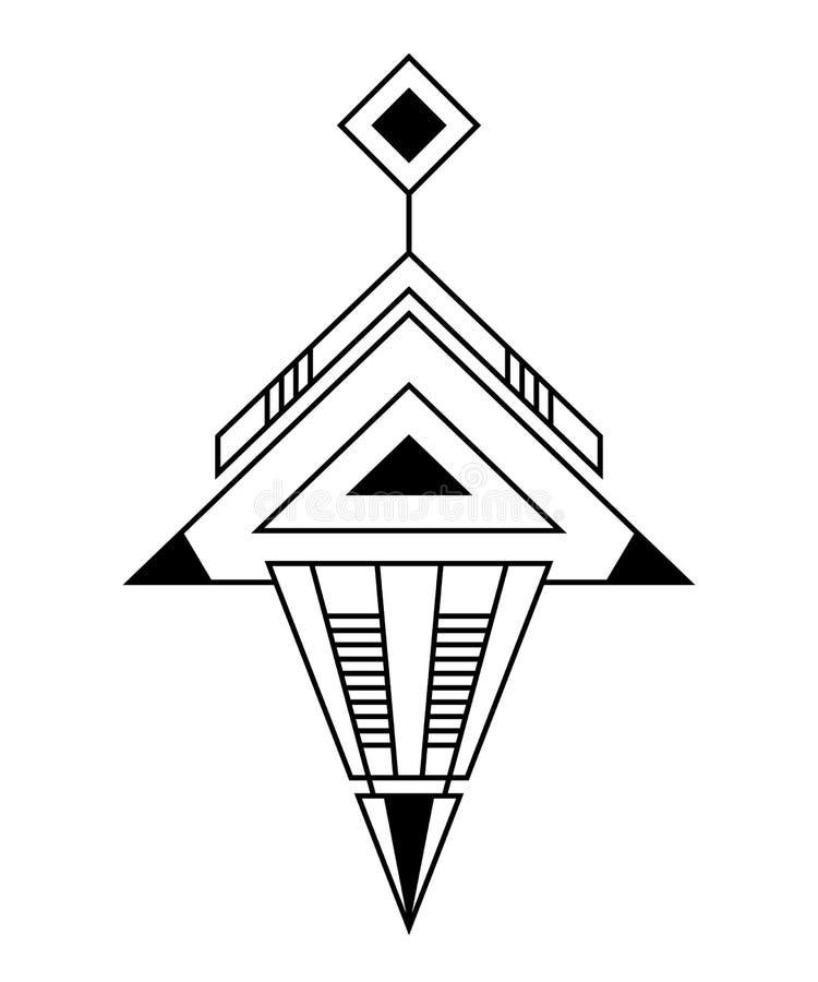 Αφηρημένο γεωμετρικό σύμβολο, που απομονώνεται στο άσπρο υπόβαθρο Ιερό σημάδι γεωμετρίας ελεύθερη απεικόνιση δικαιώματος