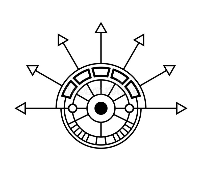 Αφηρημένο γεωμετρικό σύμβολο, που απομονώνεται στο άσπρο υπόβαθρο Ιερό σημάδι γεωμετρίας απεικόνιση αποθεμάτων