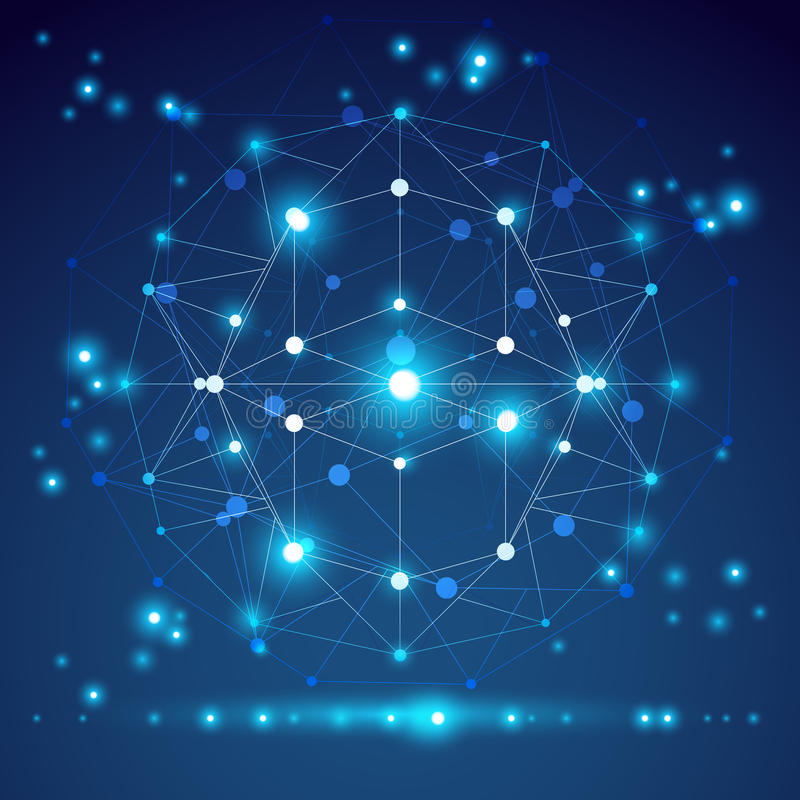 Αφηρημένο γεωμετρικό τρισδιάστατο αντικείμενο πλέγματος, σύγχρονος ψηφιακός ελεύθερη απεικόνιση δικαιώματος