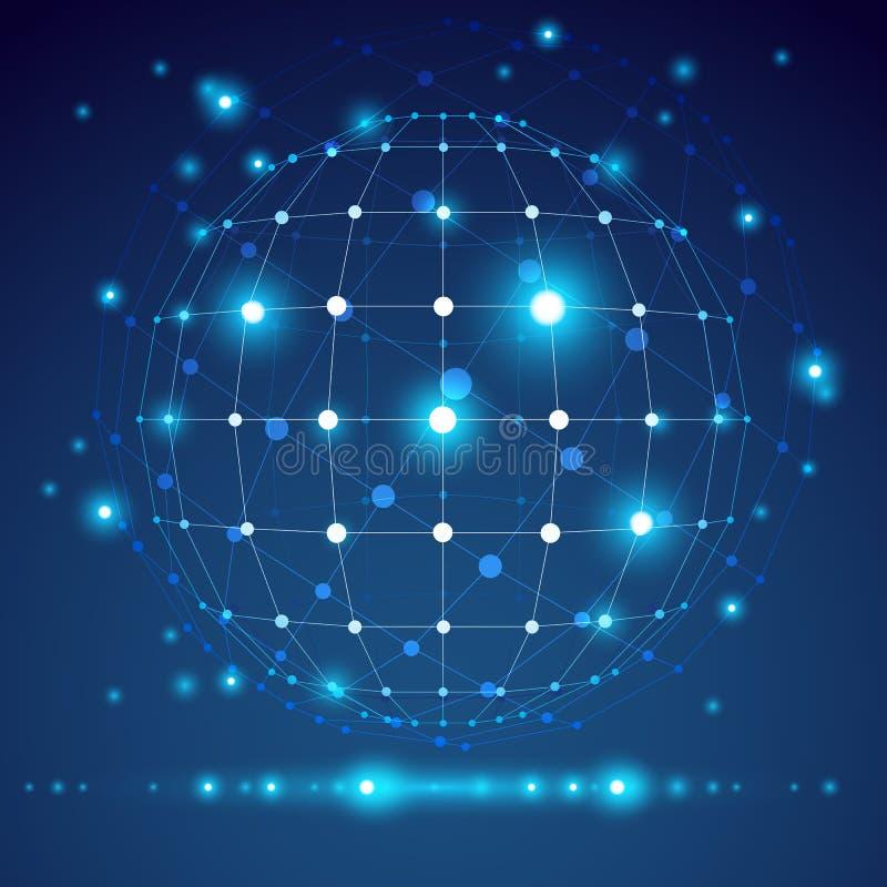 Αφηρημένο γεωμετρικό τρισδιάστατο αντικείμενο πλέγματος, τεχνολογία απεικόνιση αποθεμάτων