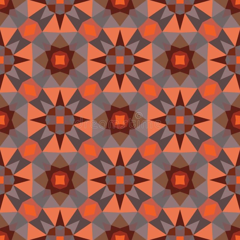 Αφηρημένο γεωμετρικό υπόβαθρο - άνευ ραφής διανυσματικό σχέδιο στα πορτοκαλιά και καφετιά χρώματα Εθνικό ύφος boho Δομή διακοσμήσ διανυσματική απεικόνιση