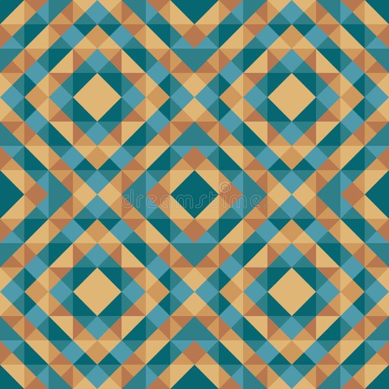 Αφηρημένο γεωμετρικό υπόβαθρο - άνευ ραφής διανυσματικό σχέδιο στα πράσινα μπλε και χρυσά καφετιά χρώματα Εθνικό ύφος boho ευρωπα διανυσματική απεικόνιση