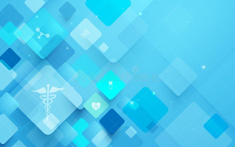 Αφηρημένο γεωμετρικό υπόβαθρο έννοιας ιατρικής και επιστήμης μορφής εικονίδια ιατρικά διανυσματική απεικόνιση