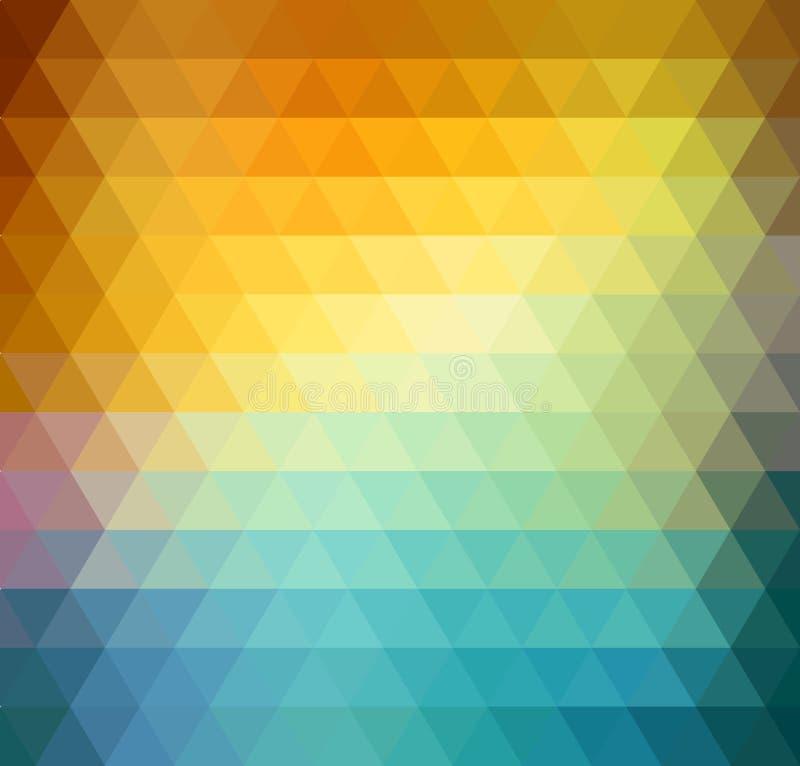 Αφηρημένο γεωμετρικό υπόβαθρο με τα πορτοκαλιά, μπλε και κίτρινα τρίγωνα Θερινό ηλιόλουστο σχέδιο ελεύθερη απεικόνιση δικαιώματος