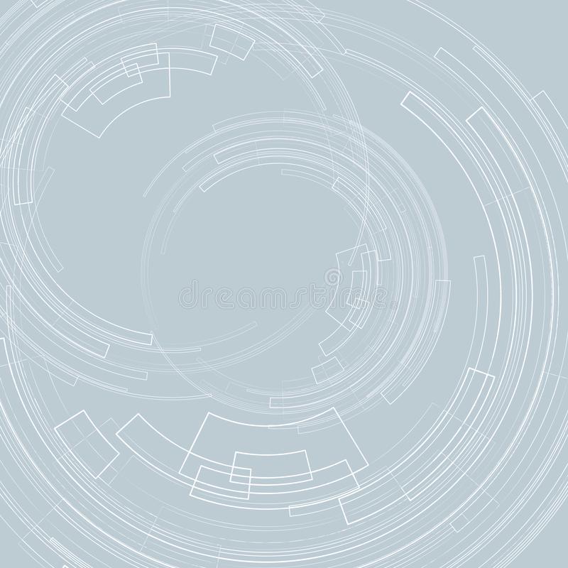 Αφηρημένο γεωμετρικό υπόβαθρο με τους ομόκεντρους ελαφριούς κύκλους κύκλων γεωμετρικές γραμμές στις γκρίζες υποβάθρου γραφικές δι διανυσματική απεικόνιση