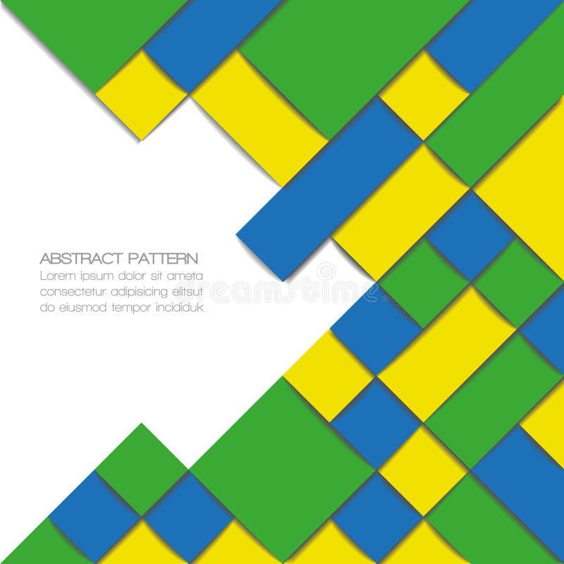 Αφηρημένο γεωμετρικό υπόβαθρο στα χρώματα σημαιών της Βραζιλίας απεικόνιση αποθεμάτων