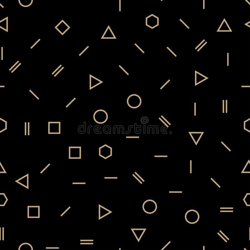 Αφηρημένο γεωμετρικό χρυσό και μαύρο σχέδιο σχεδίου μόδας της Μέμφιδας απεικόνιση αποθεμάτων