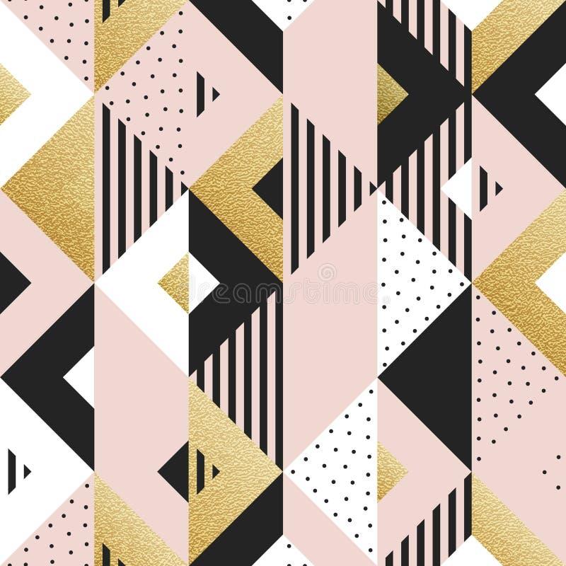 Αφηρημένο γεωμετρικό χρυσό υπόβαθρο σχεδίων των στοιχείων τετραγώνων και τριγώνων για το σύγχρονο καθιερώνον τη μόδα χρυσό πρότυπ διανυσματική απεικόνιση