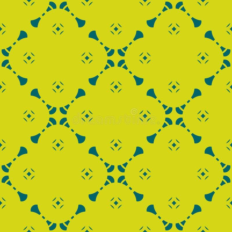 Αφηρημένο γεωμετρικό floral διανυσματικό άνευ ραφής σχέδιο στο σκούρο πράσινο και χρώμα ασβέστη ελεύθερη απεικόνιση δικαιώματος
