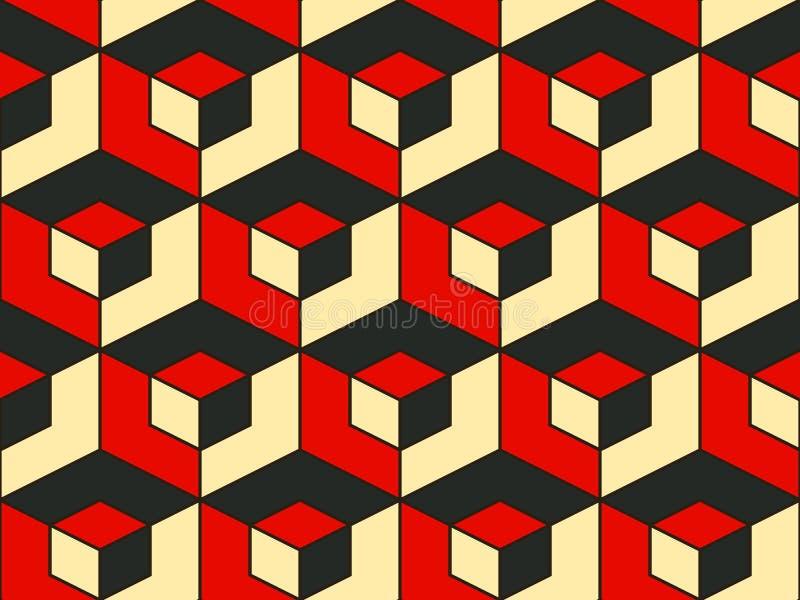 Αφηρημένο γεωμετρικό isometric διανυσματικό άνευ ραφής σχέδιο στοκ εικόνα
