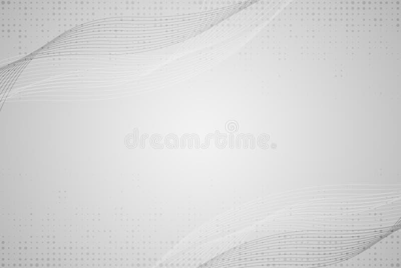 Αφηρημένο γκρίζο άσπρο σχέδιο κυμάτων και γραμμών φουτουριστικό υπόβαθρο προτύπων o διανυσματική απεικόνιση