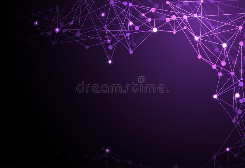 Αφηρημένο γραμμικό, polygonal σκοτεινό vio έννοιας τεχνολογίας φουτουριστικό ελεύθερη απεικόνιση δικαιώματος