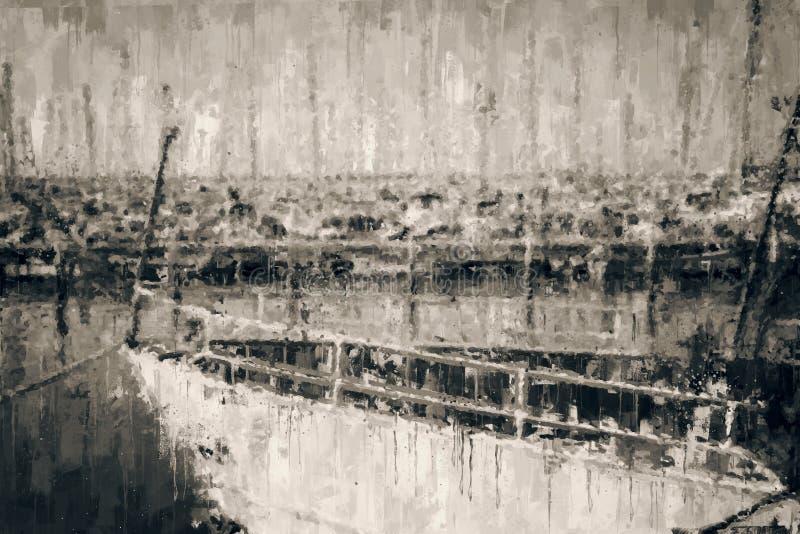 αφηρημένο γραπτό υπόβαθρο της μαρίνας με τη βάρκα ύφος ελαιογραφίας ελεύθερη απεικόνιση δικαιώματος