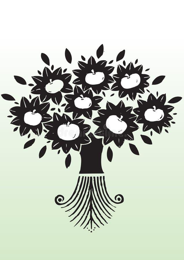 Αφηρημένο δέντρο μηλιάς με τις ρίζες ελεύθερη απεικόνιση δικαιώματος