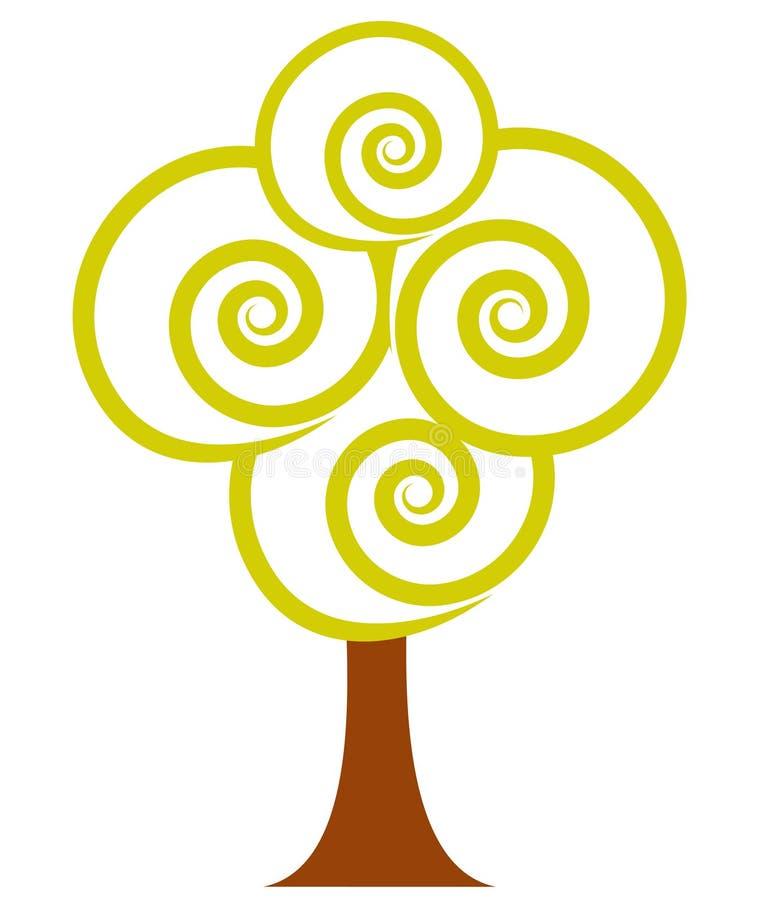 αφηρημένο δέντρο συμβόλων Διανυσματικό επίπεδο εικονίδιο στα φυσικά χρώματα ελεύθερη απεικόνιση δικαιώματος