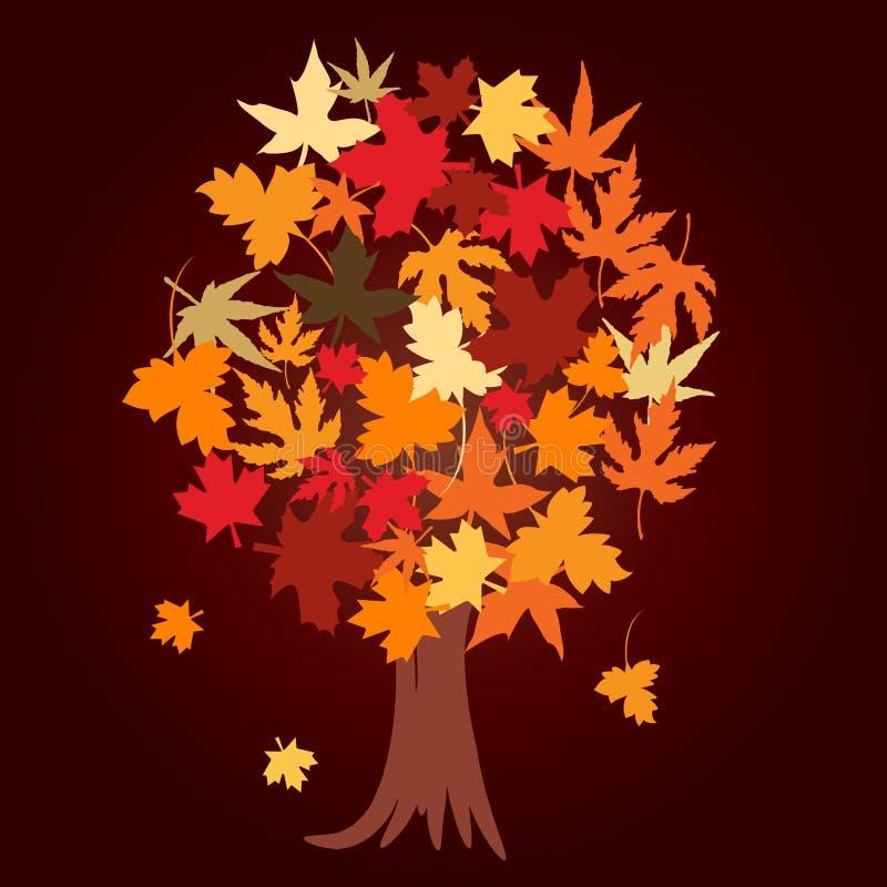 αφηρημένο δέντρο φύλλων φθινοπώρου απεικόνιση αποθεμάτων