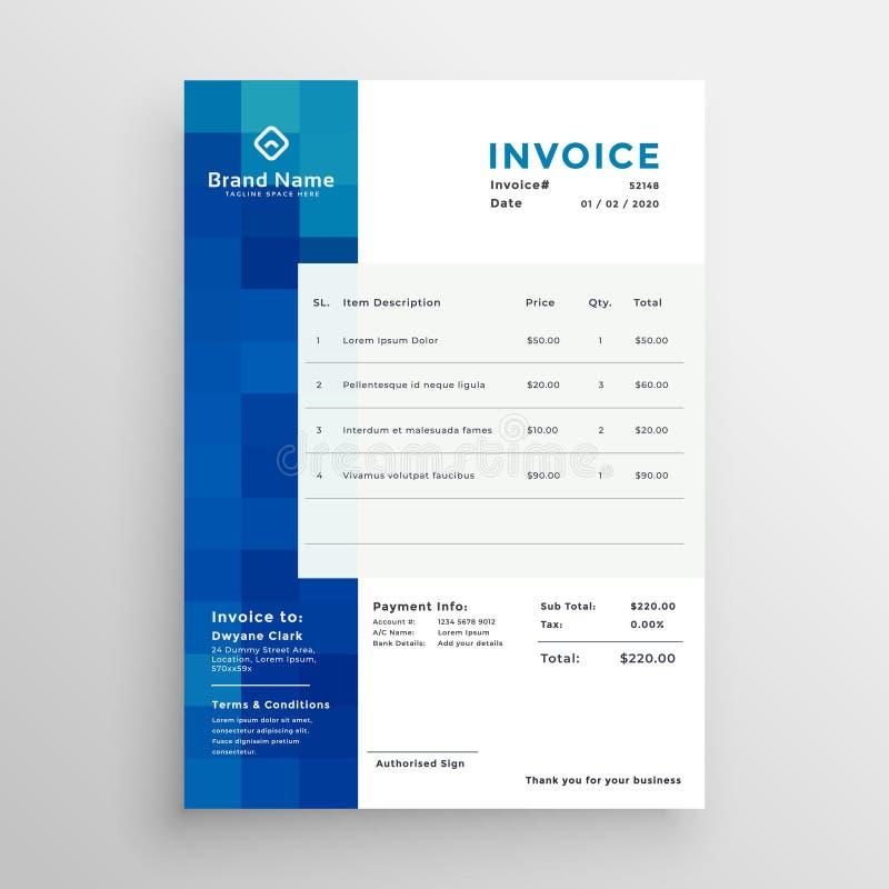 Αφηρημένο δημιουργικό μπλε πρότυπο επιχειρησιακών τιμολογίων απεικόνιση αποθεμάτων